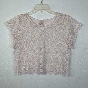 A is for Audrey Floral Lace Crop Top Sheer Blouse